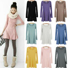 Casual Winter Women Soft Basic Solid Color Sleeve Long Shirt Mini Dress Skirt