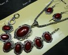 1-10sets Antique Silver fashion Bracelet Earrings Necklace 3pc in 1 Jewelry Sets