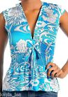 Blue/White Floral Swirl Cap Sleeve Vee Front Smocked Waist Top S/M/L