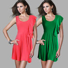 DonnaBella Asymetric Girls Shift Scoop Neck Frill Skater Party Mini Summer Dress