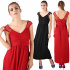 Womens Cap Sleeve V Neck Ruched Open Back Maxi Party Day Holiday Long Tea Dress