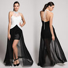 Donna Bella Sheath Embellished Halter Split Front Evening Party Prom Maxi Dress