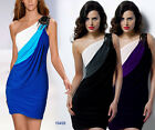 Bodycon Colour Block Drape Stretch Epaulet Asymmetric Cocktail Party Mini Dress