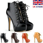 [BALCK FRIDAY] WOMENS PU LACE UP PLATFORM STILETTO BOOTS WINTER SHOES SIZE 2-9