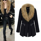 Lady Winter Oversize Warm Fur Collar Thicken Woolen Coat Jacket Parka Outwear