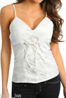 White Lace Overlay Lace-Up Front Smocked Back Bra Top Cami S/M/L/XL