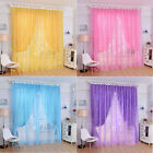 Rose Tulle Window Screens Door Balcony Curtain Panel Sheer Scarfs SBU