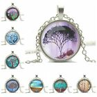 Vintage Life tree Round Glass Cabochon Silver tone Chain Pendant Necklace Gift