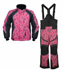 Girls Youth Mossi Snowmobile Jacket & Bibs Combo - Pink w/ Circles