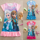 Fashion Girls Kids Floral Pyjama Nightie sleepwear Dress skrit Clothes Frozen