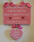 Handpainted Personalised Wooden Heart Sign LOVING AND THOUGHTFUL (Pink & White)