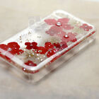 XRH Pressed Red Real Flower Bling Resin Hard Skin Case Cover For Samsung iPhone