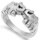 925 Sterling Silver Sideways Two 2 Kissing Elephants Love Band Ring Size 3-11