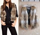 Winter Warm Womens Faux Fur Short Vest Sleeveless Jacket Waistcoat HUK