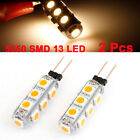2 Pcs DC 12V Bin Pin G4 5050 SMD 13 LED Bulb Light Lamp Warm White for Car