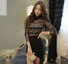 Women Sexy Lace Sheer Crochet Embroidery Tops Long Sleeve Shirt Casual Blouse