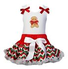 Christmas Red Green White Chevron Reversible Pettiskirt Gingerbread Man PT Dress