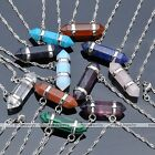 1PC Fashion Gemstone Hexagon Quartz Healing Point Wrap Pendant Chain Necklace