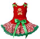 Christmas Red Green Chevron Reversible Pettiskirt Gingerbread Man Party Dress