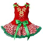 Christmas Red Green Chevron Reversible Petite Pettiskirt Reindeer Party Dress