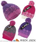 Girls Rockjock Knitted Beanie Bobble Ski Hat Kids Thermal Lined Fair Isle Design