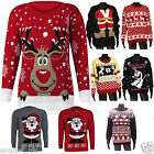 Mens Ladies Christmas Jumper Xmas Reindeer Santa Novelty Rudolf Plus Big Size