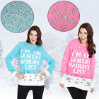 WOMENS CHRISTMAS XMAS FESTIVE JUMPER SWEATER NOVELTY SANTAS NAUGHTY LIST WINTER