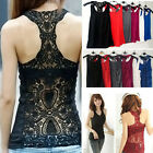 UK 8-12 Sexy Women Crochet Hollow-out Lace Vest Tank Tops Shirt Blouse Camisole