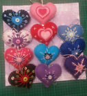 Embroidered Christmas Felt handmade padded Hanging Hearts for the Tree