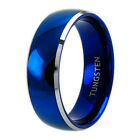 Tungsten Men's Blue Domed with Beveled Silver Edges Size 8-13 Man Band Ring M70
