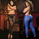 Plus Size Lingerie One Size Queen Black or Blue Stretch Lace Leggings STM9327X