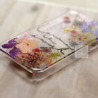 FBM Glitter Pink Pressed Real Dry Flower Bling Resin Floral Hard Skin Case Cover