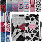 For Amazon Fire Phone AT&T DIAMOND BLING CRYSTAL HARD Case Phone Cover + Pen