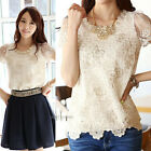 New Fashion Women Sexy Floral Lace Top Short Sleeve Chiffon T Shirt Blouse S-2XL