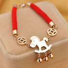 Free shipping fashion Gold Pony Horse Bell & Red Rope Luck Wish Bracelet bangle