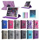 For Apple iPad Air 2 2nd Gen 360 Rotating Leather Case Cover Stand + Film/Pen