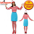 CL192 Wheres Wally Ladies Fancy Dress Costume 80s Wenda Womens Cartoon Book Week