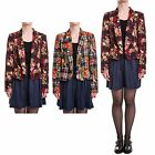 Hidden Fashion Womens Ladies Check Floral Print Collared Blazer