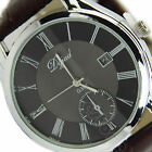 New Men's Stainless Steel Dial Date Leather Band Quartz Wrist Watch