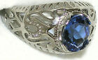 Men's Unique English Blue Topaz Stainless Steel Ring * Hypo-allergenic 31512