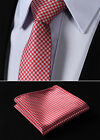 "TG1001R7 Red Gray Houndstooth 2.75"" Silk Slim Narrow Men Handkerchief Necktie"