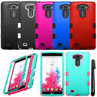 For LG G Vista VS880 G Pro 2 Lite TUFF HYBRID Rubber HARD Case Phone Cover + Pen