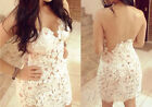 Sexy Women's Lace Crochet Backless Straps Party Cocktail Slim White Mini Dress