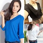 Womens Long Sleeve V-neck Chiffon Shirt Oversized Rivet Tops T-Shirt Pullovers
