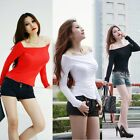 New Women's Off-shoulder Long Sleeve Cotton Top T-shirt Blouse Pullover Clubwear