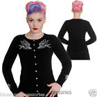 RKP62 Hell Bunny Skelebird Black Retro Cardigan Rockabilly Pin Up Vintage 50s