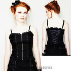 RKP65 Hell Bunny Black Steampunk Corset Gothic Punk Pin Up Rockabilly Top Goth