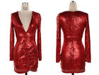 RED SEQUIN V-NECK Long Sleeve DRESS Sexy Cocktail Low Cut XL 1X 2X 3X PLUS SIZE