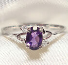 Genuine Faceted Oval Amethyst .925 Sterling Silver Ring -- AM841