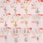 18K Gold Plated Crystal Pearl Women Wedding Necklace Earrings Set In 12 Styles
